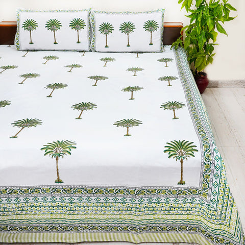 Green And White Handblock Printed Cotton Double Bedcover with Pillow Cases (Set of 3)