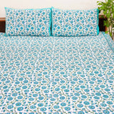 Blue Handblock Printed Cotton Double Bedsheets with Pillow Cases (Set of 3)