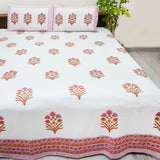 Multicolor Handblock Printed Cotton Double Bedsheets with Pillow Cases (Set of 3)