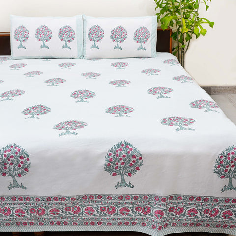 Grey Handblock Printed Cotton Double Bedsheets with Pillow Cases (Set of 3)