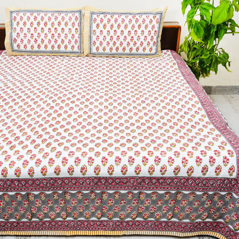 Multicolor Handblock Printed Cotton Double Bedsheet With Pillow Cases (Set of 3)