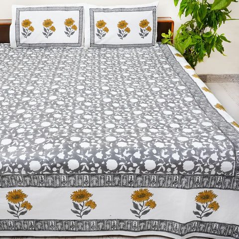 Black And Muticolor Handblock Printed Cotton Double Bedsheet With Pillow Cases (Set of 3)