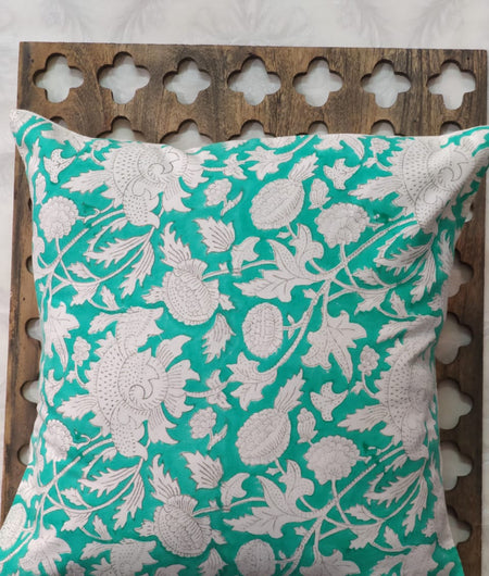 Hand Block Rama Green Cotton Cushion Cover ( Set of 4 )