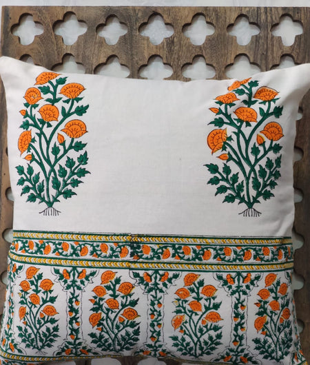 Hand Block Green and Orange Cotton Cushion Cover ( Set of 4 )