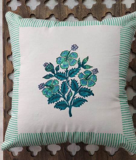 Hand Block Blue Cotton Cushion Cover ( Set of 4 )