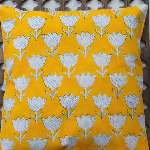 Hand Block Yellow Cotton Cushion Cover ( Set of 4 )