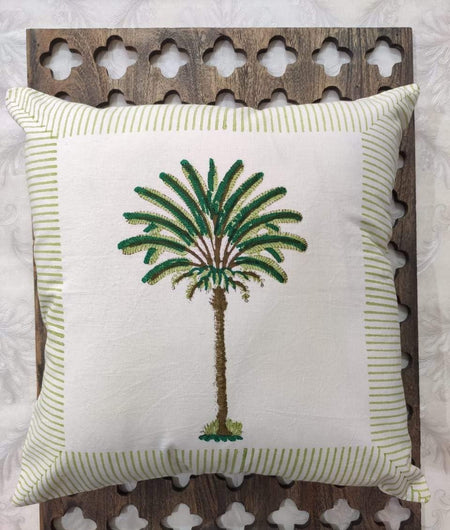 Hand Block Green Cotton Cushion Cover ( Set of 4 )