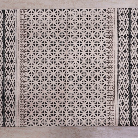Black Handblock Printed Cotton Dhurrie