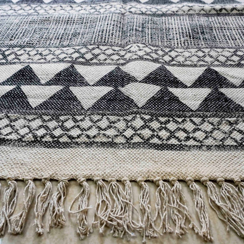 Black and White Handblock Printed Cotton Rug (4ft x 6ft)
