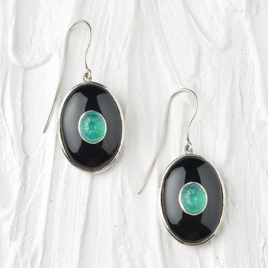 black and green onyx silver earrings
