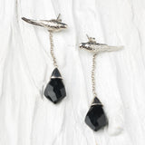 silver parrot earrings