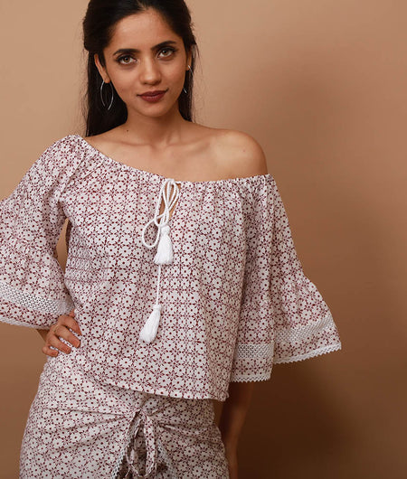 white and brown block print off   shoulder top