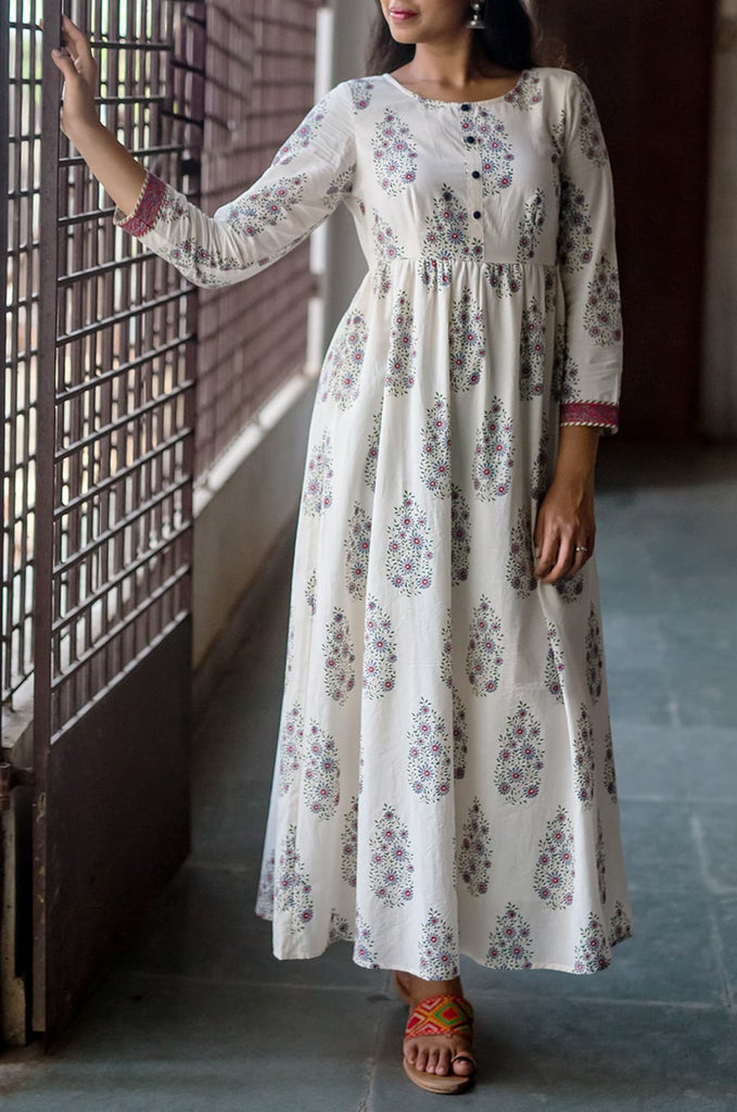 Off White block print blue floral kashish dress