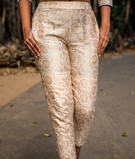 ivory gold print royal pants