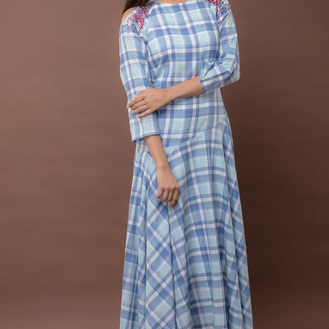 blue Cold Shoulder Checks Dress