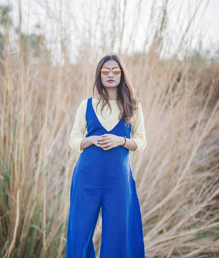 Blue and Yellow desert bluebells jumpsuit