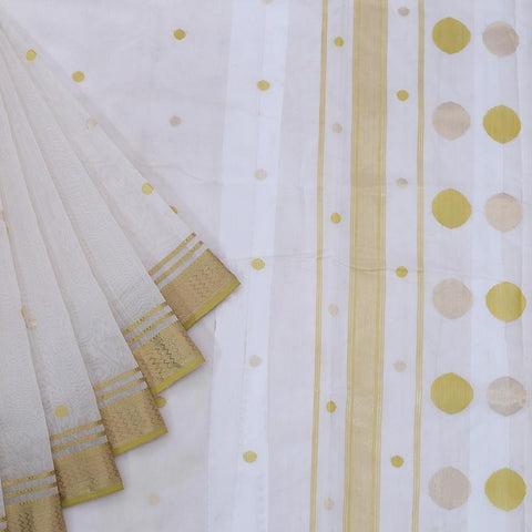 Maheshwari Silk Cotton Off White Golden Butti Saree