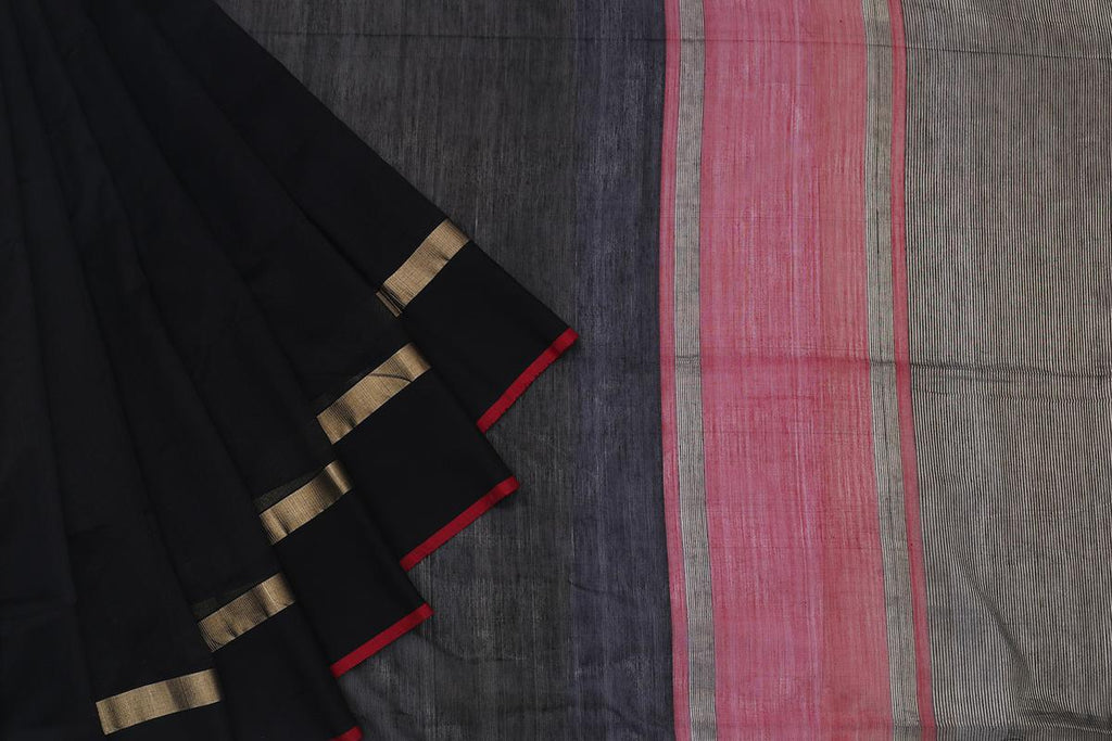 Maheshwari Silk Cotton Black Plain Saree