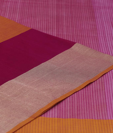 Maheshwari Silk Cotton Rani Pink Plain With Yellow Stripe Saree