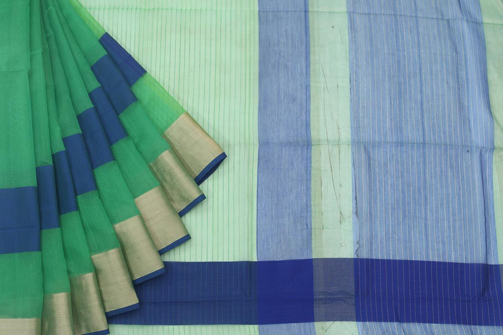 Maheshwari Silk Cotton Sea Green Plain With Blue Stripe Saree