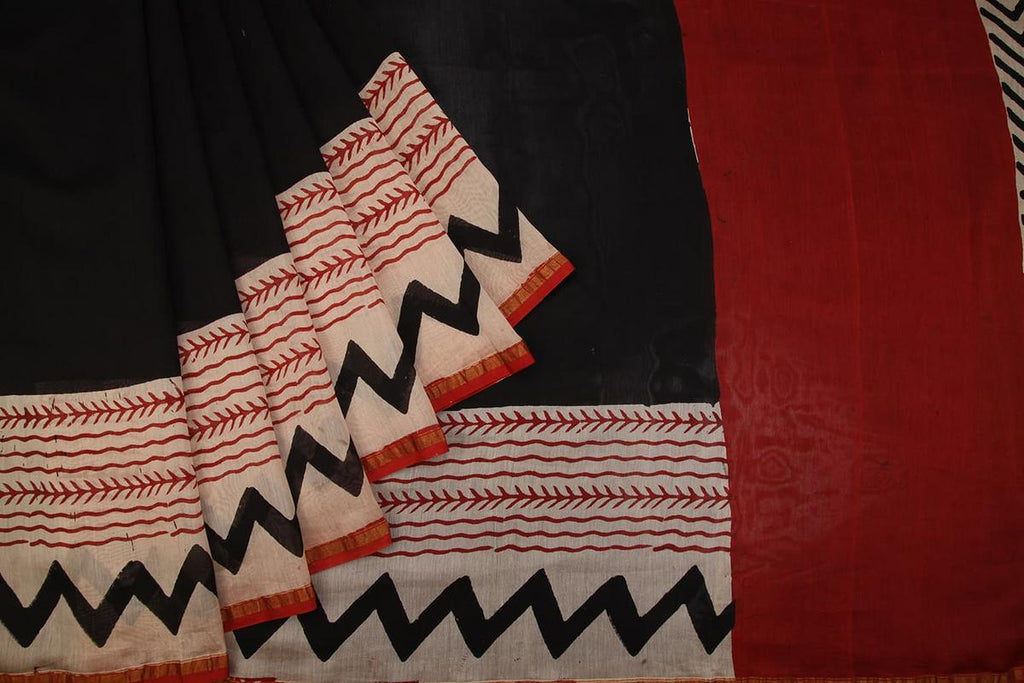 Hand Block chanderi silk-cotton black plain Saree