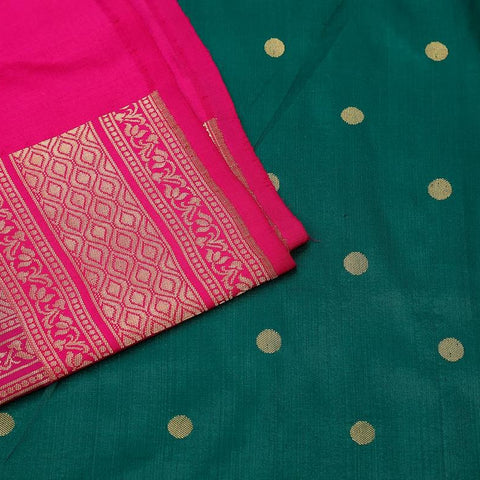 Banarasi green katan silk Saree with Paithani style floral butti Work