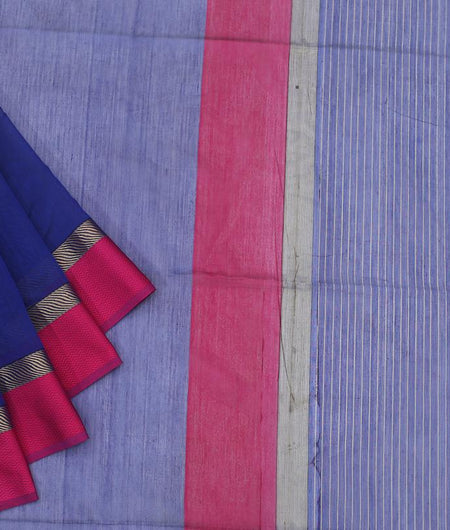 Maheshwari Silk Cotton Navy Blue Plain Saree