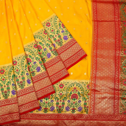 Banarasi yellow katan silk Saree with Paithani style floral butti Work