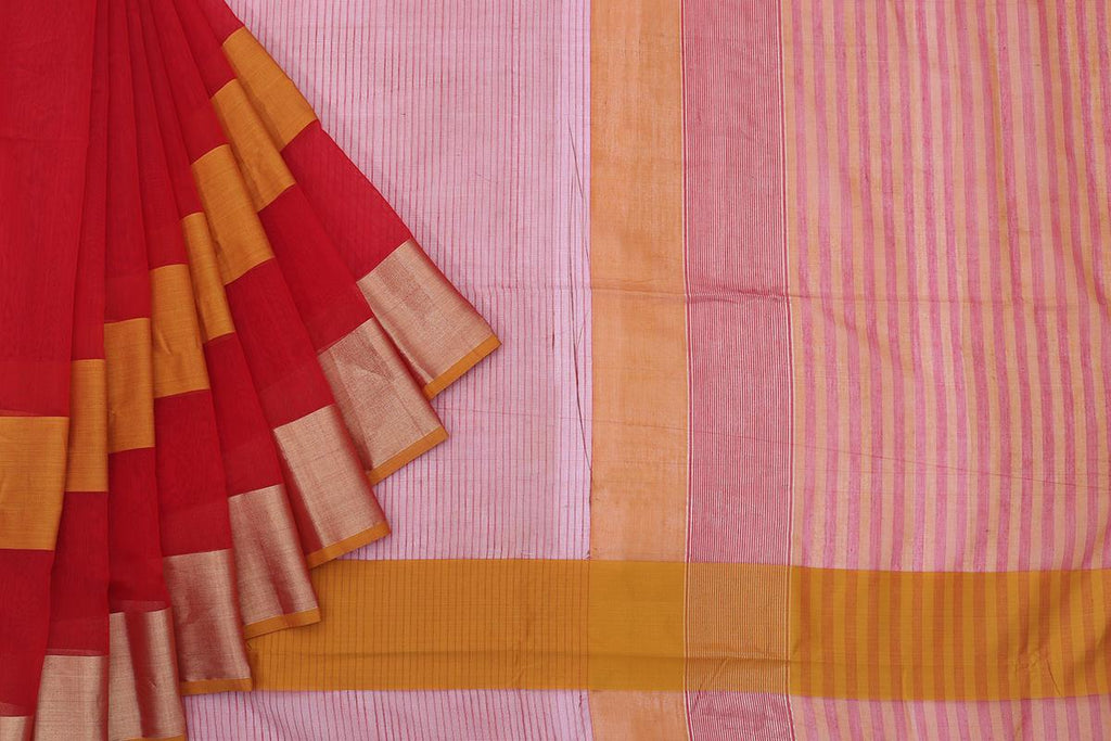 Maheshwari Silk Cotton Red Plain With Yellow Stripe Saree