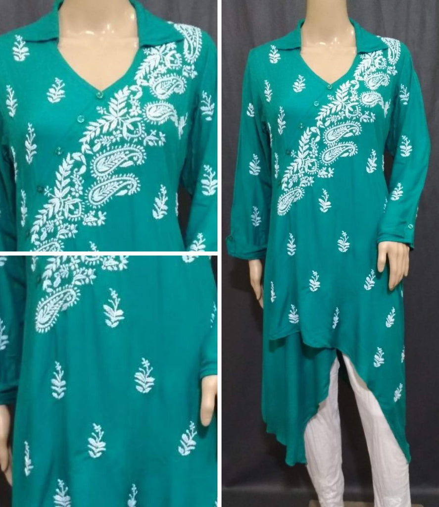 Embroidery Rama Green Rayon Kurta