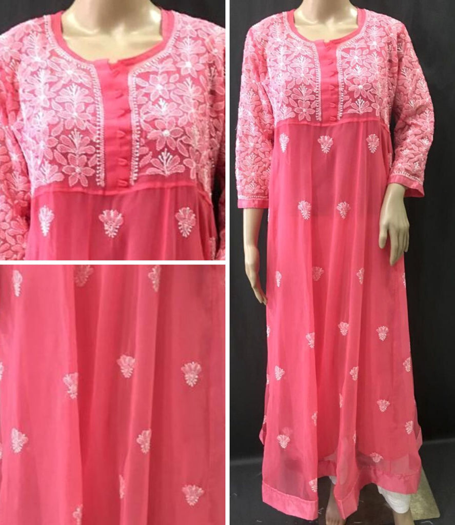Embroidery Pink Georgette Anarkali
