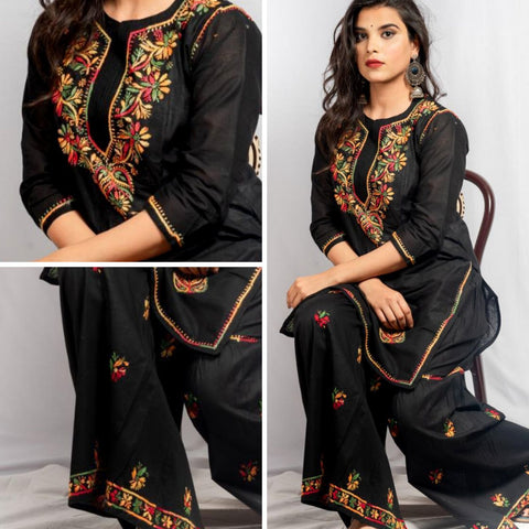 Embroidery Black Cotton Kurta Palazzo Set