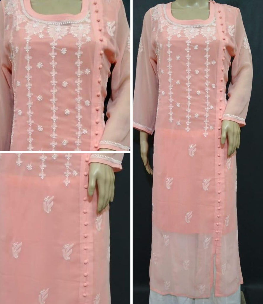 Embroidery Peach Georgette Kurta