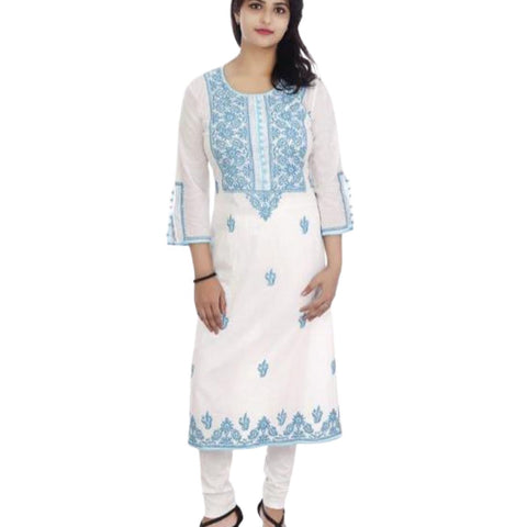 Embroidery White Cotton Kurta