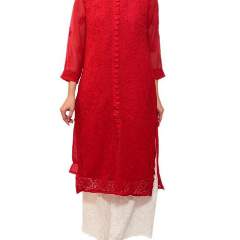 Embroidery Red Georgette Kurta