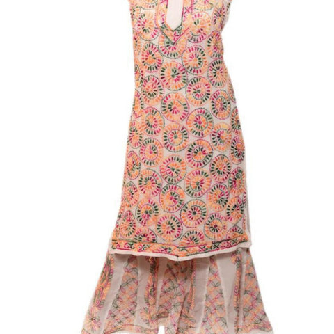 Embroidery White Georgette Kurta Palazzo Set