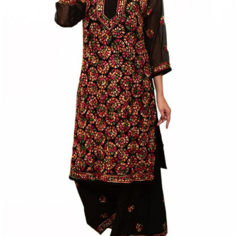 Embroidery Black Georgette Kurta Palazzo Set