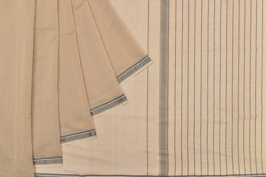 mercerised cotton beige plain Saree