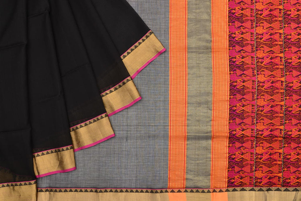 mercerised cotton black plain Saree