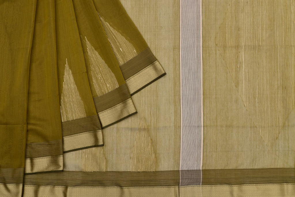 mercerised cotton olive green plain Saree