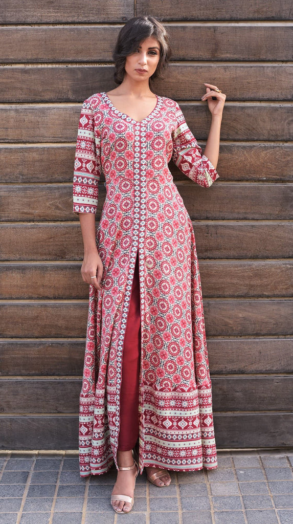Hand Block cotton rose pink suit set