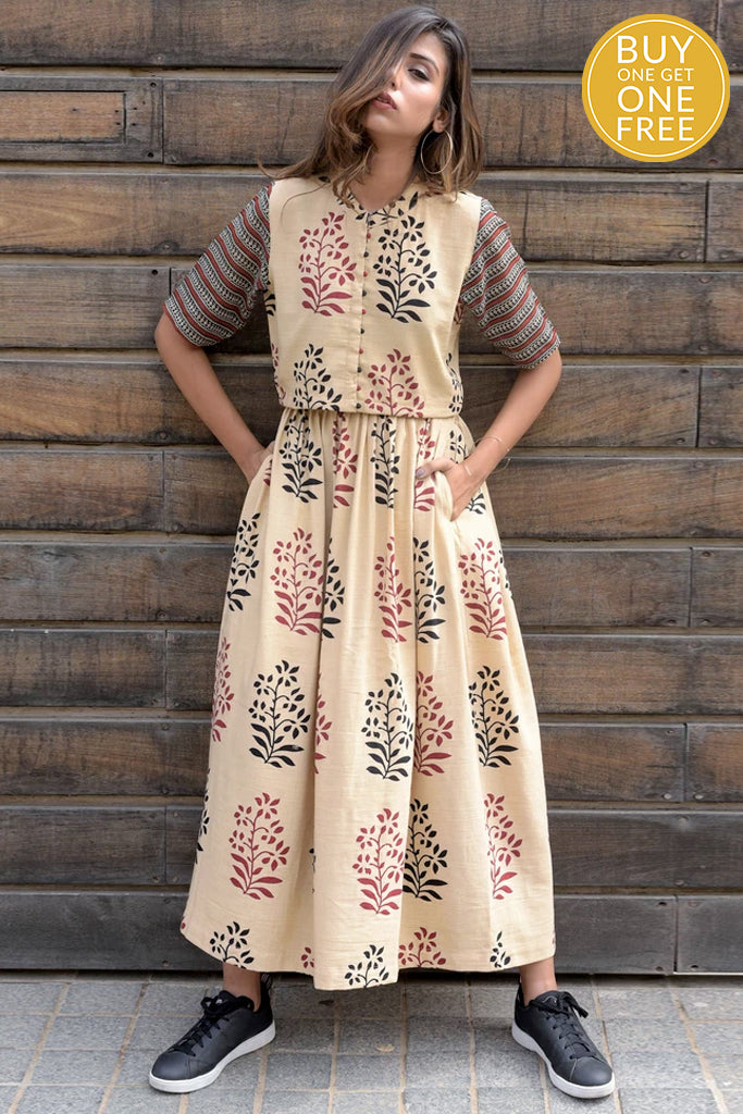 printed organic cotton beige skirt set