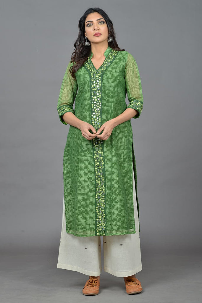 block print  olive green cotton Kurta