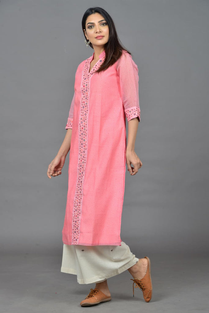 block print  pink cotton Kurta