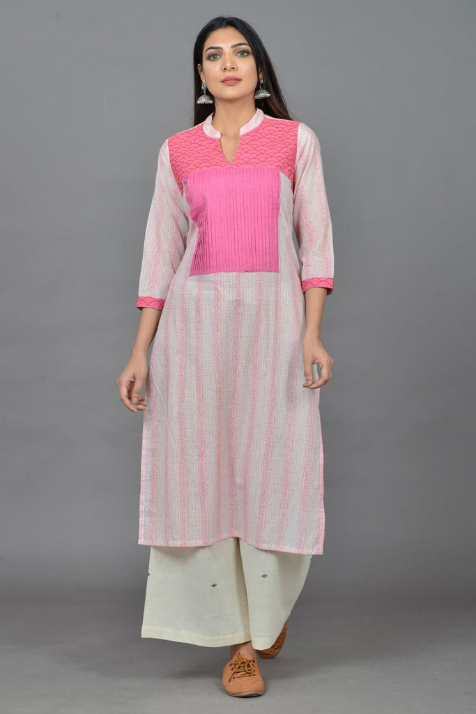 block print  baby pink cotton Kurta