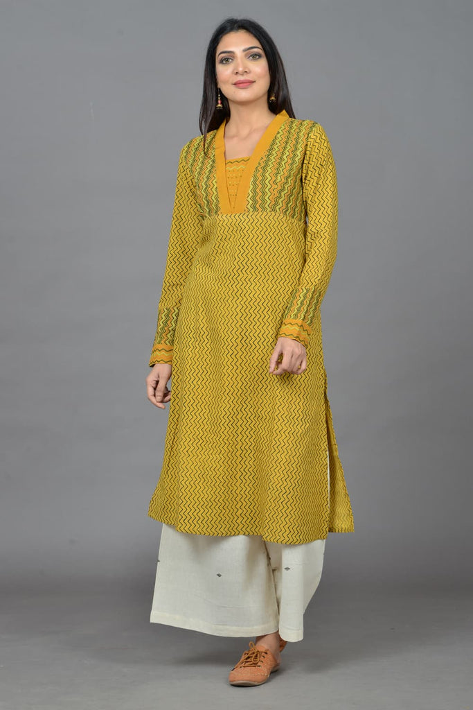 block print  olive cotton Kurta