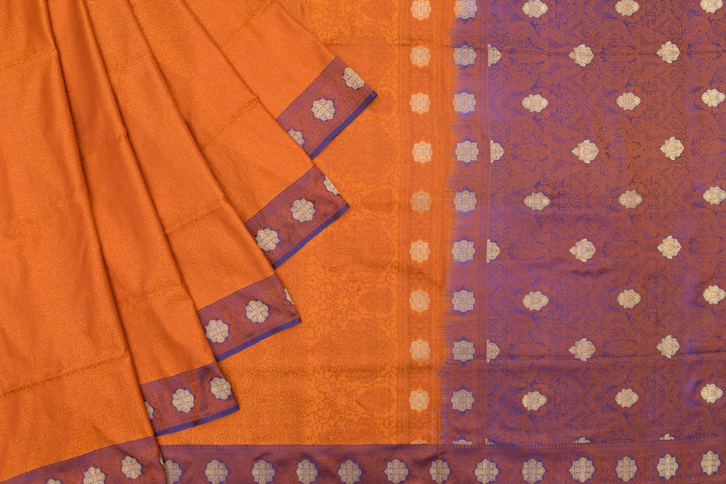 Banarasi Katan Silk orange Tanchui Saree With Floral Jangla Work