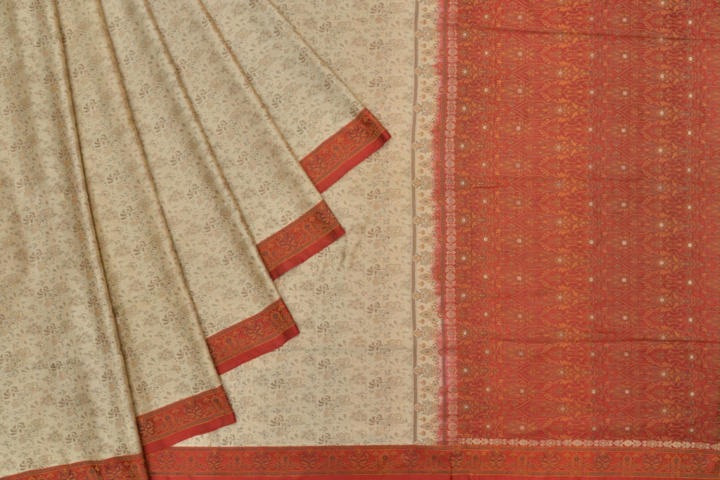 Banarasi Katan Silk cream Tanchui Saree With Floral Jangla Work