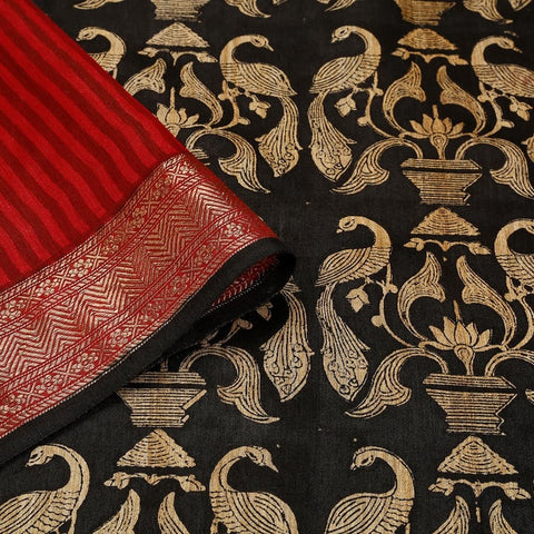 Black Muga Silk Saree With Printed Peacock Pattern