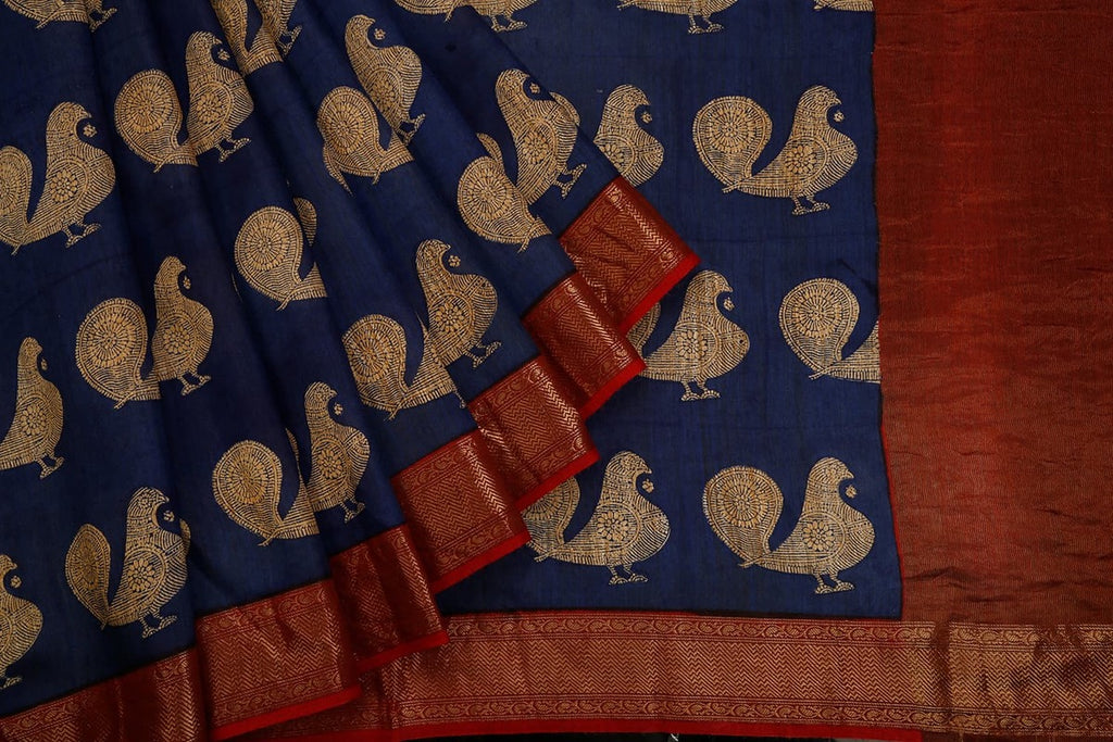 Blue Muga Silk Saree With Printed Peacock Pattern